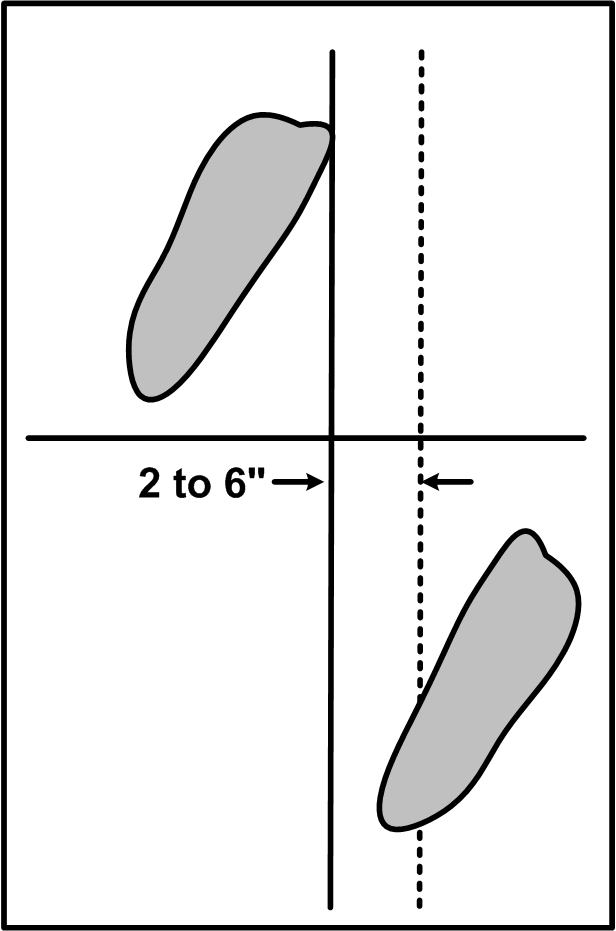 Feet position in stance, with both feet parallel, pointed about 30 degrees to sword side, shoulder-width apart, with the toe of the front foot touching the line toward the opponent, and the heel of the back foot 2-6 inches to the sword side of the line.